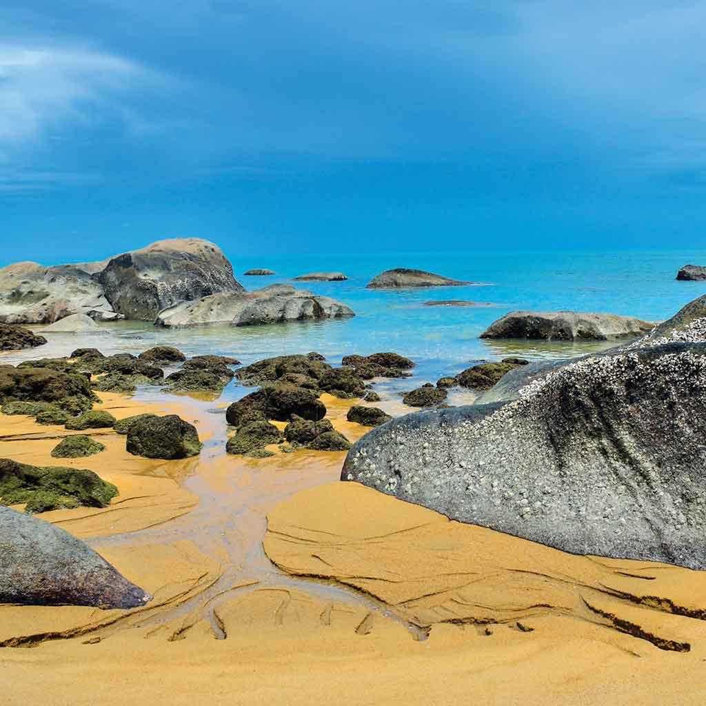 Pasir Antu Laut Beach, surrounded by rocks burrowed in clams