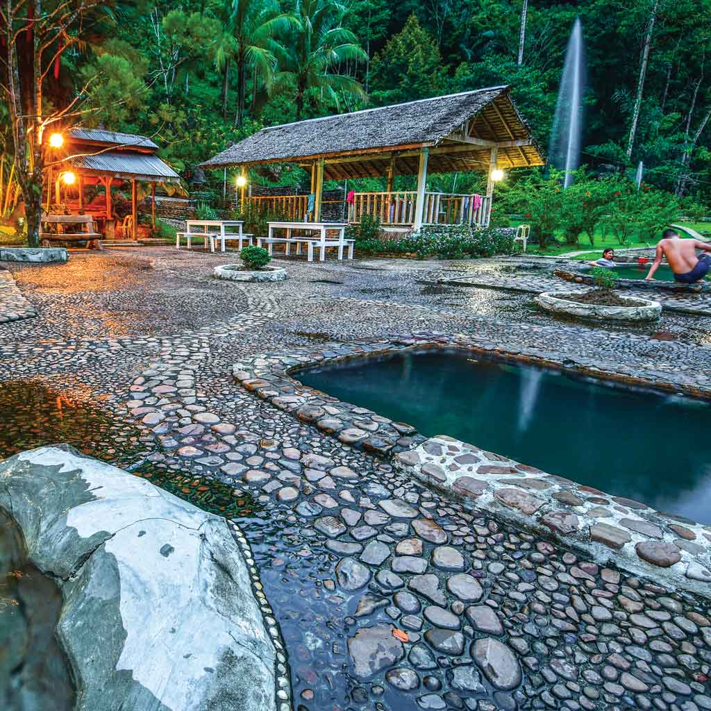 Beautifully constructed Merarap Hot Spring Lodge with pools of variable temperatures, Lawas